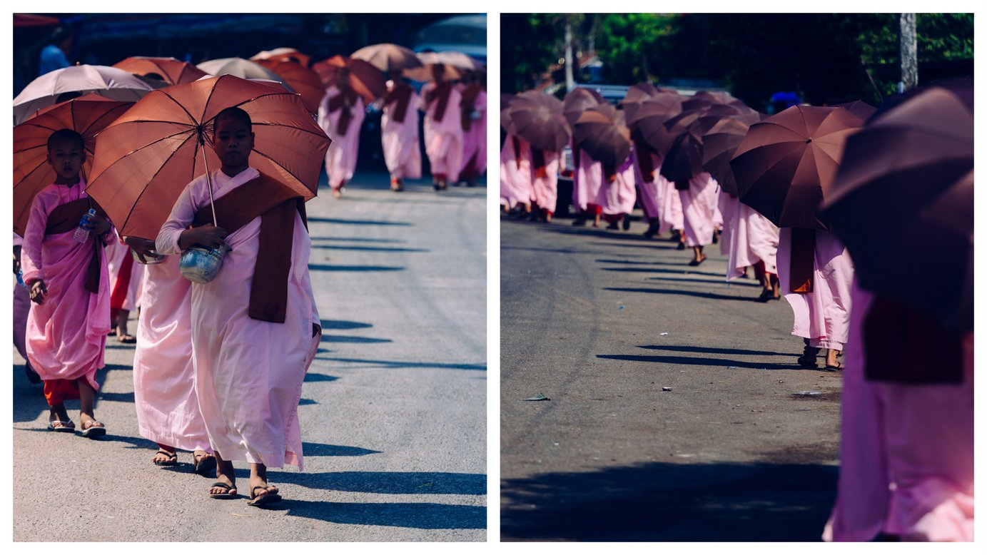 Procesja ojałmużnę Birma